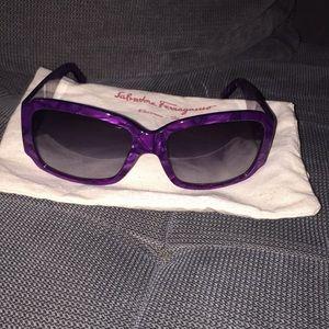 Salvatore Ferragamo purple sunglasses NWOT
